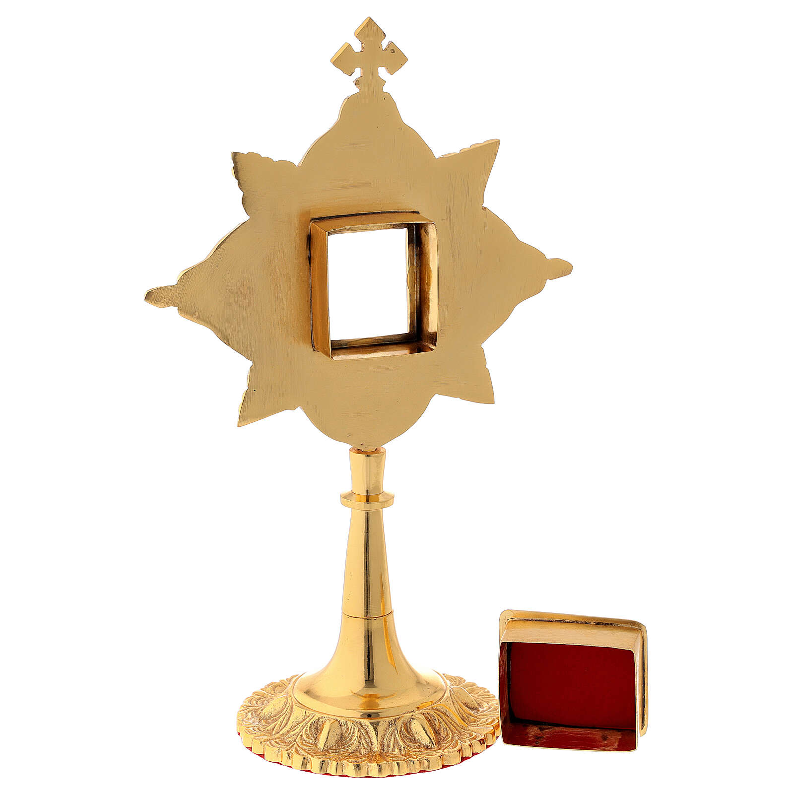 Reliquary in brass gold leaf crystals shrine 4.5x4 cm 4