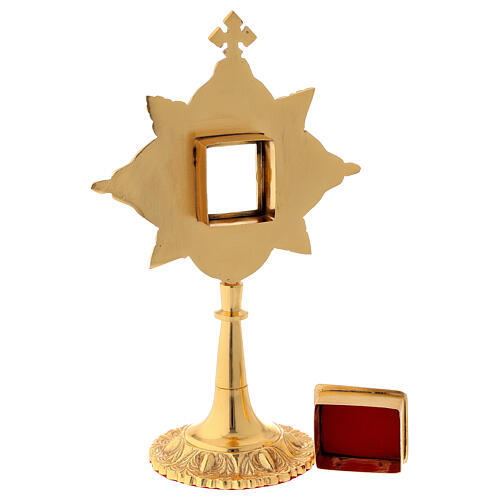 Reliquary in brass gold leaf crystals shrine 4.5x4 cm 5