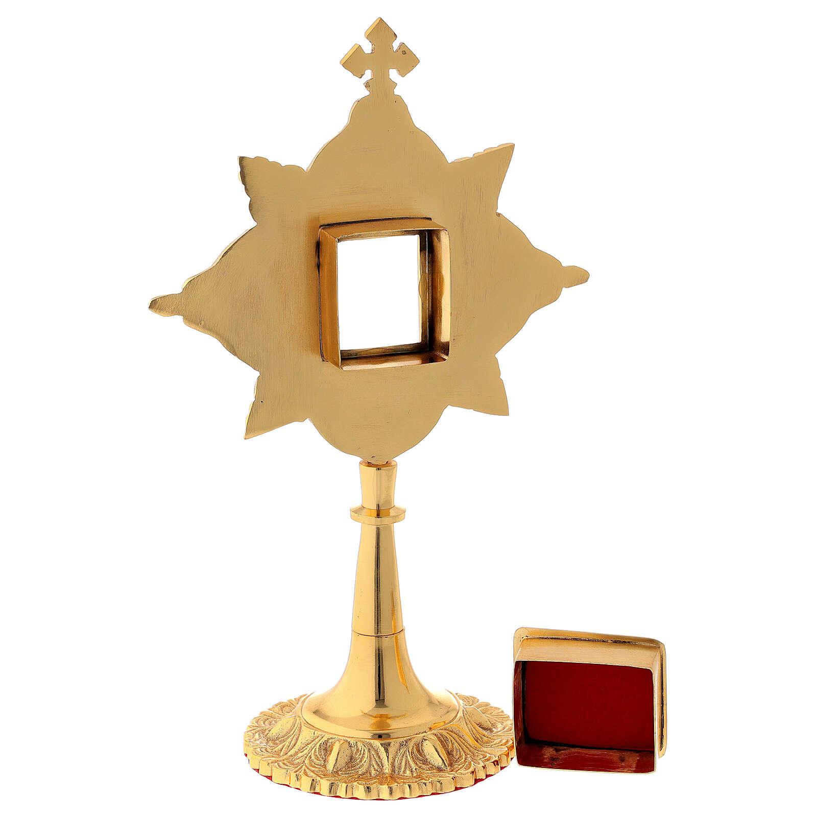 Relicario latón hoja de oro cristales 4,5x4 cm 4