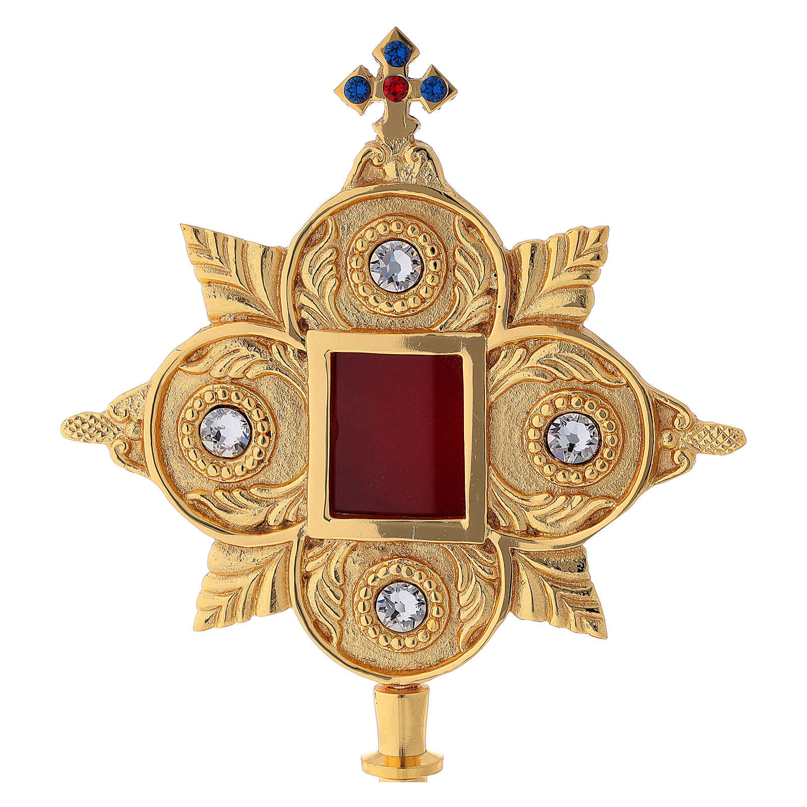 Reliquaire laiton feuille d'or cristaux lunule 4,5x4 cm 4