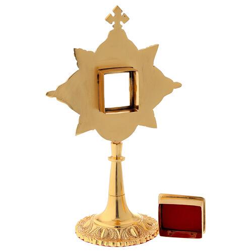Reliquaire laiton feuille d'or cristaux lunule 4,5x4 cm 5