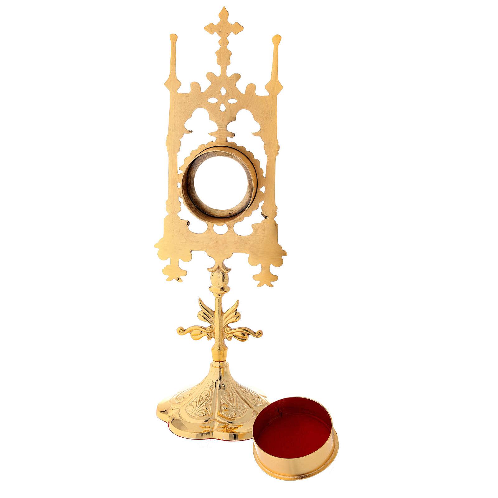Reliquaire en laiton doré avec pierres 31 cm 4