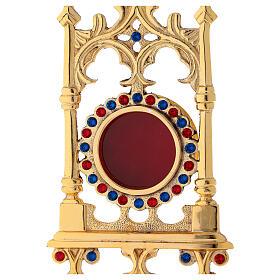 Reliquiario in ottone dorato con pietre 31 cm s2