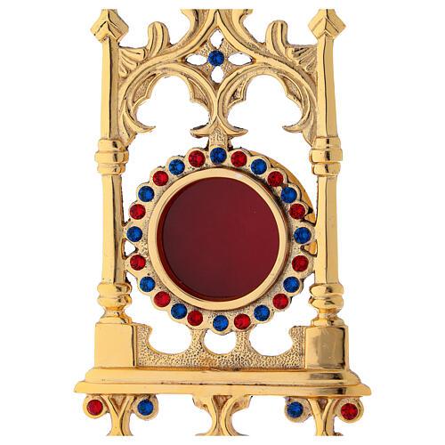 Reliquiario in ottone dorato con pietre 31 cm 2