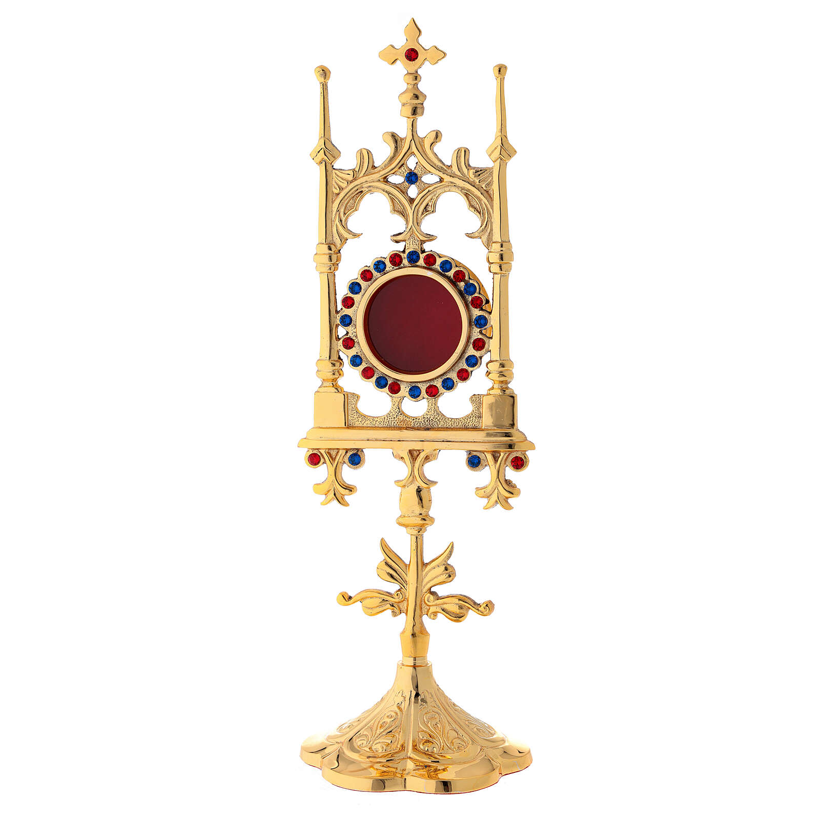 Gold plated brass reliquary with stones 12 in 4