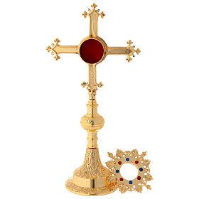 Reliquiario con pietre in ottone satinato dorato 27 cm s3