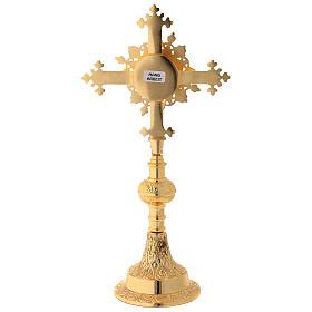Reliquiario con pietre in ottone satinato dorato 27 cm s6