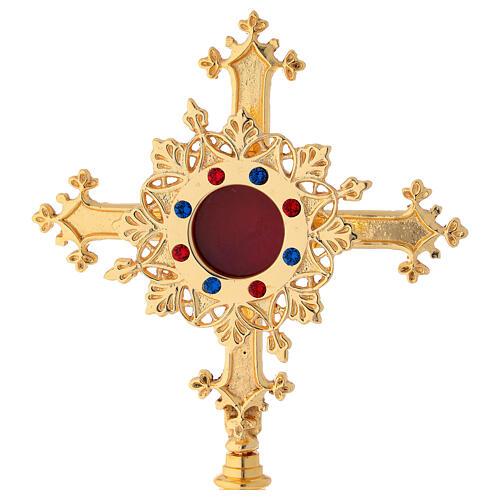 Reliquiario con pietre in ottone satinato dorato 27 cm 2