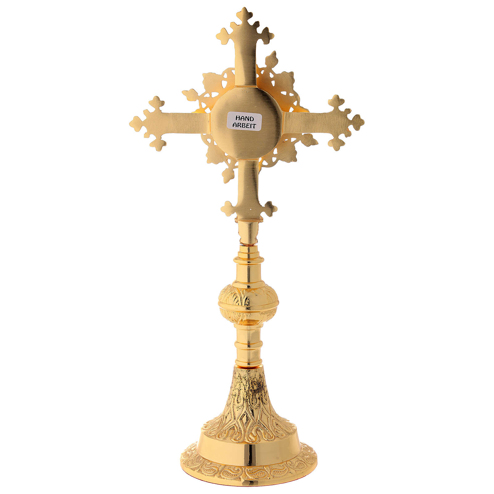 Gold plated brass reliquary with satin finish and stones 10 1/2 in 4