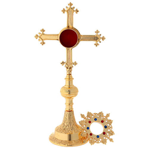 Gold plated brass reliquary with satin finish and stones 10 1/2 in 3