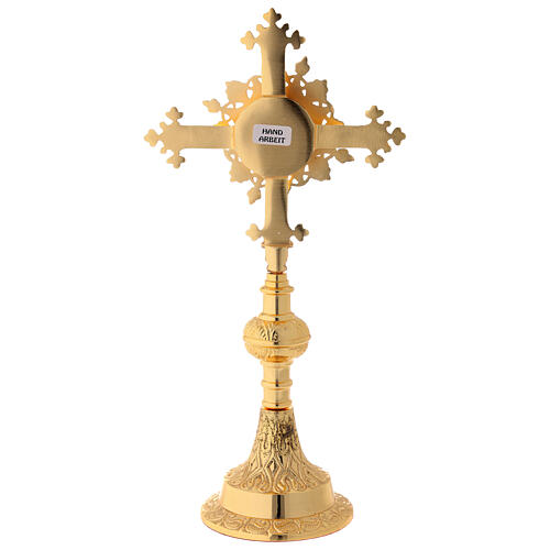 Gold plated brass reliquary with satin finish and stones 10 1/2 in 6