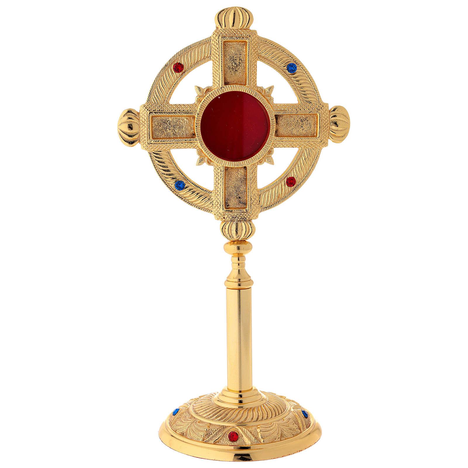 Reliquary in satin gilded brass 32 cm 4