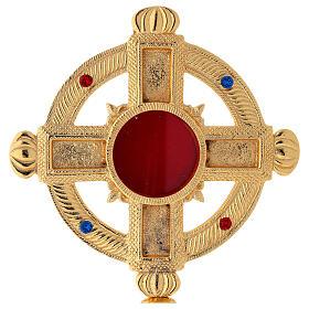 Reliquary in satin gilded brass 32 cm s2