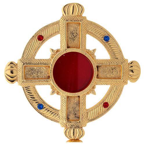 Reliquary in satin gilded brass 32 cm 2