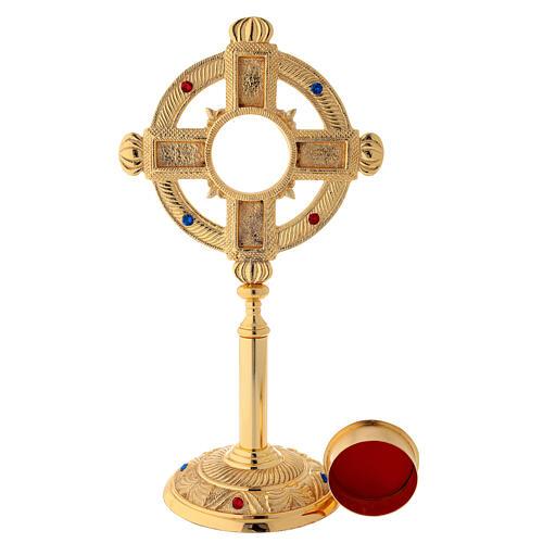 Reliquary in satin gilded brass 32 cm 3