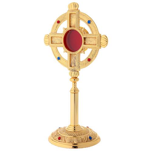 Reliquary in satin gilded brass 32 cm 5