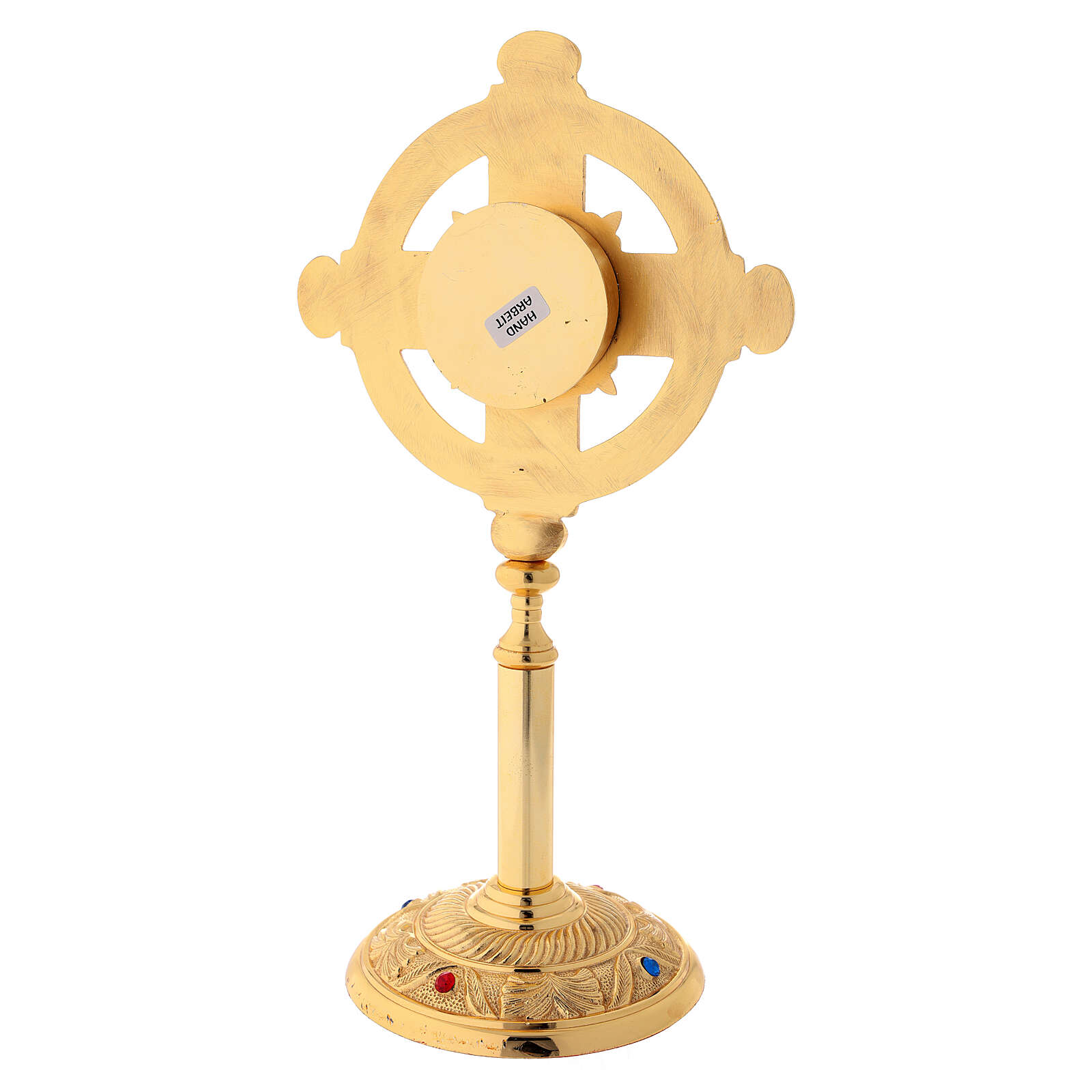 Gold plated brass reliquary with satin finish 12 1/2 in 4