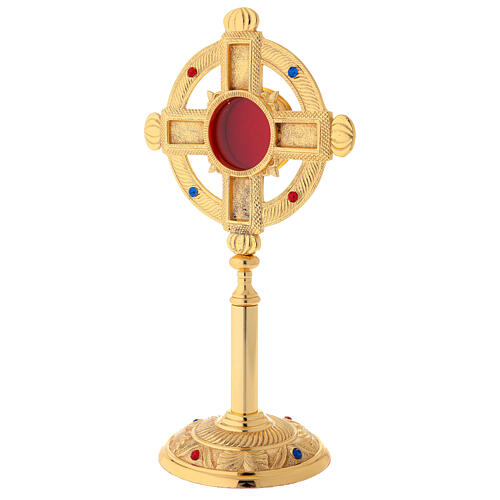 Gold plated brass reliquary with satin finish 12 1/2 in 5