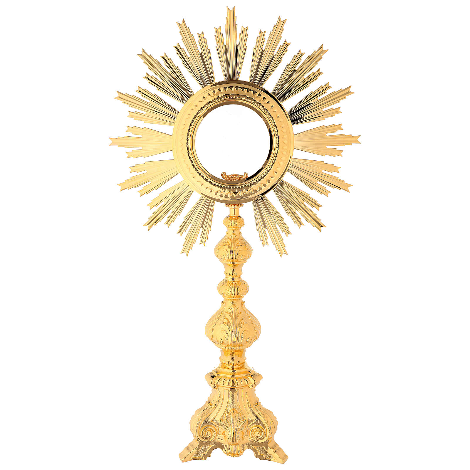 Baroque monstrance, gold plated bronze, shrine 6.3 inc inner diameter 4