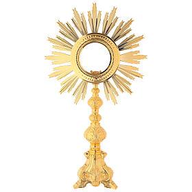 Baroque monstrance, gold plated bronze, shrine 6.3 inc inner diameter s1
