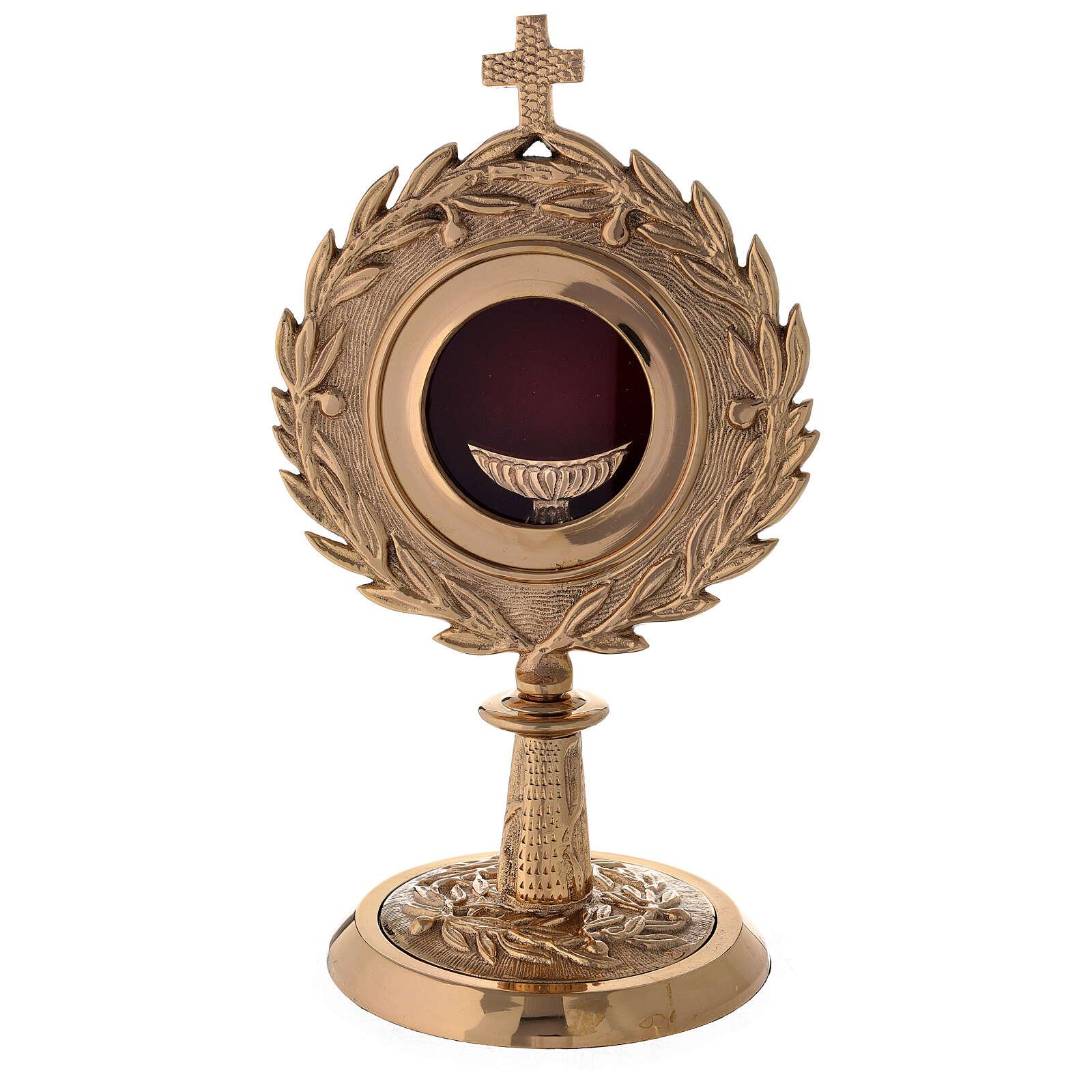 Relicario latón dorado corona laurel altura 27 cm 4