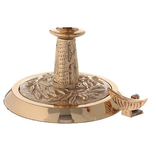 Ostensoir laiton doré couronne laurier h 27 cm 5