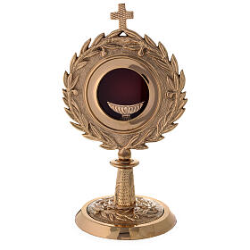 Gold plated brass monstrance with laurel wearth h 10 1/2 in s1