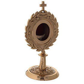 Gold plated brass monstrance with laurel wearth h 10 1/2 in s3