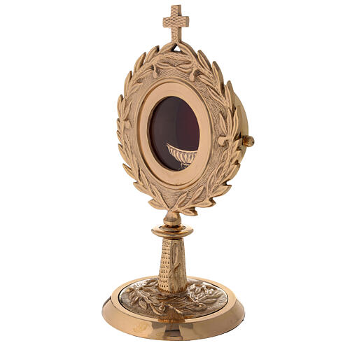 Gold plated brass monstrance with laurel wearth h 10 1/2 in 2