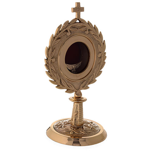 Gold plated brass monstrance with laurel wearth h 10 1/2 in 3
