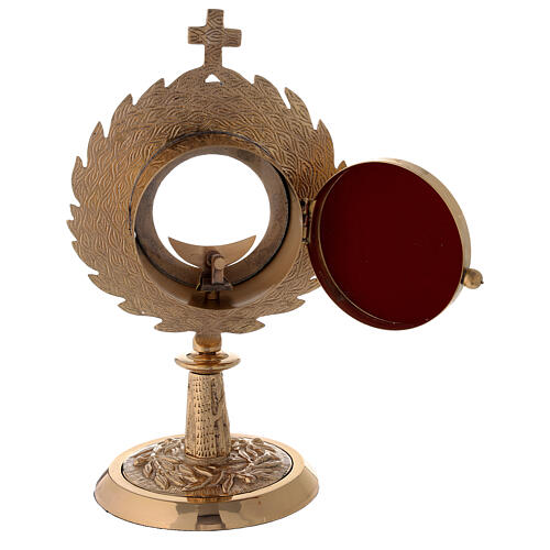 Gold plated brass monstrance with laurel wearth h 10 1/2 in 4