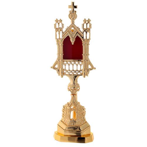 Reliquaire néogothique laiton doré hauteur 28 cm 1