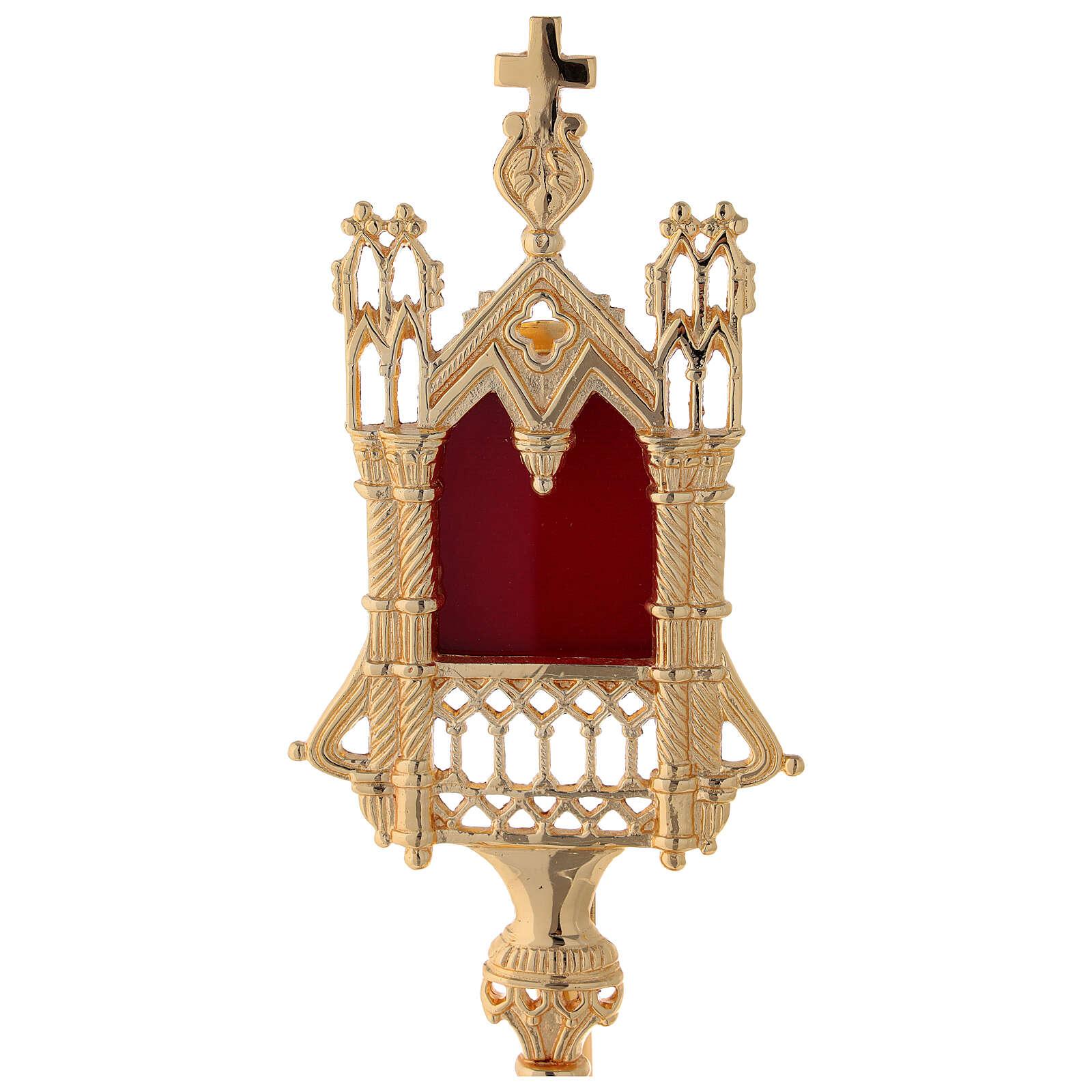 Reliquiario neogotico ottone dorato altezza 28 cm 4