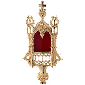 Reliquiario neogotico ottone dorato altezza 28 cm s2