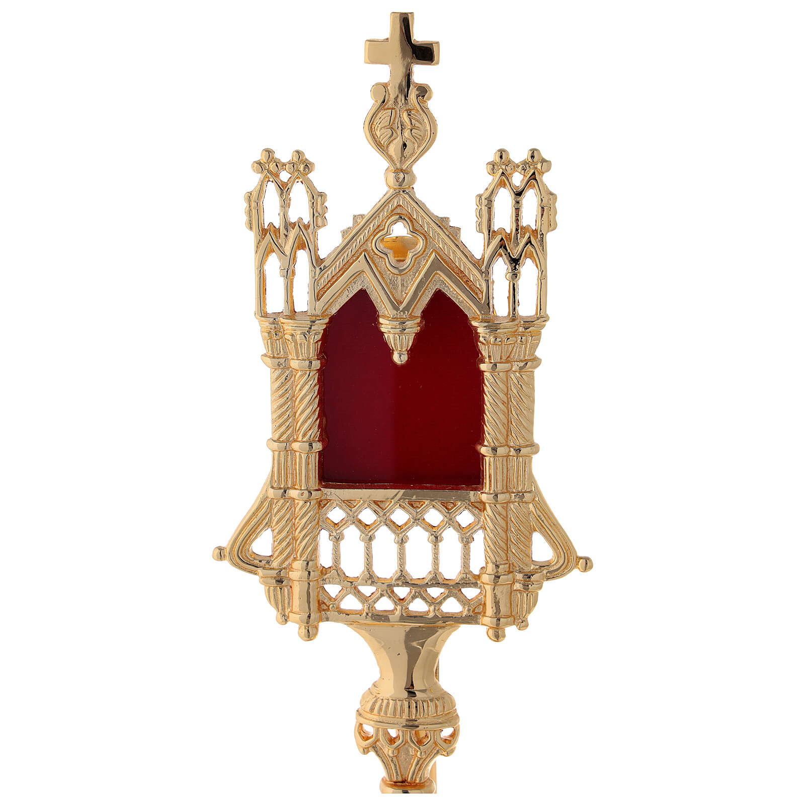 Neogothic reliquary in gold plated brass h 11 in 4