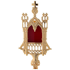 Neogothic reliquary in gold plated brass h 11 in s2