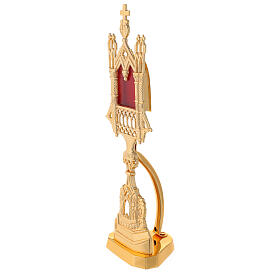 Neogothic reliquary in gold plated brass h 11 in s3