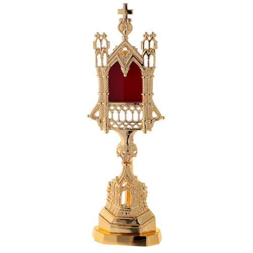 Neogothic reliquary in gold plated brass h 11 in 1