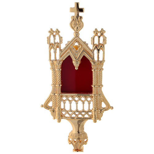 Neogothic reliquary in gold plated brass h 11 in 2