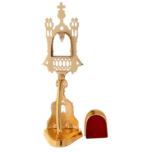 Neogothic reliquary in gold plated brass h 11 in 5