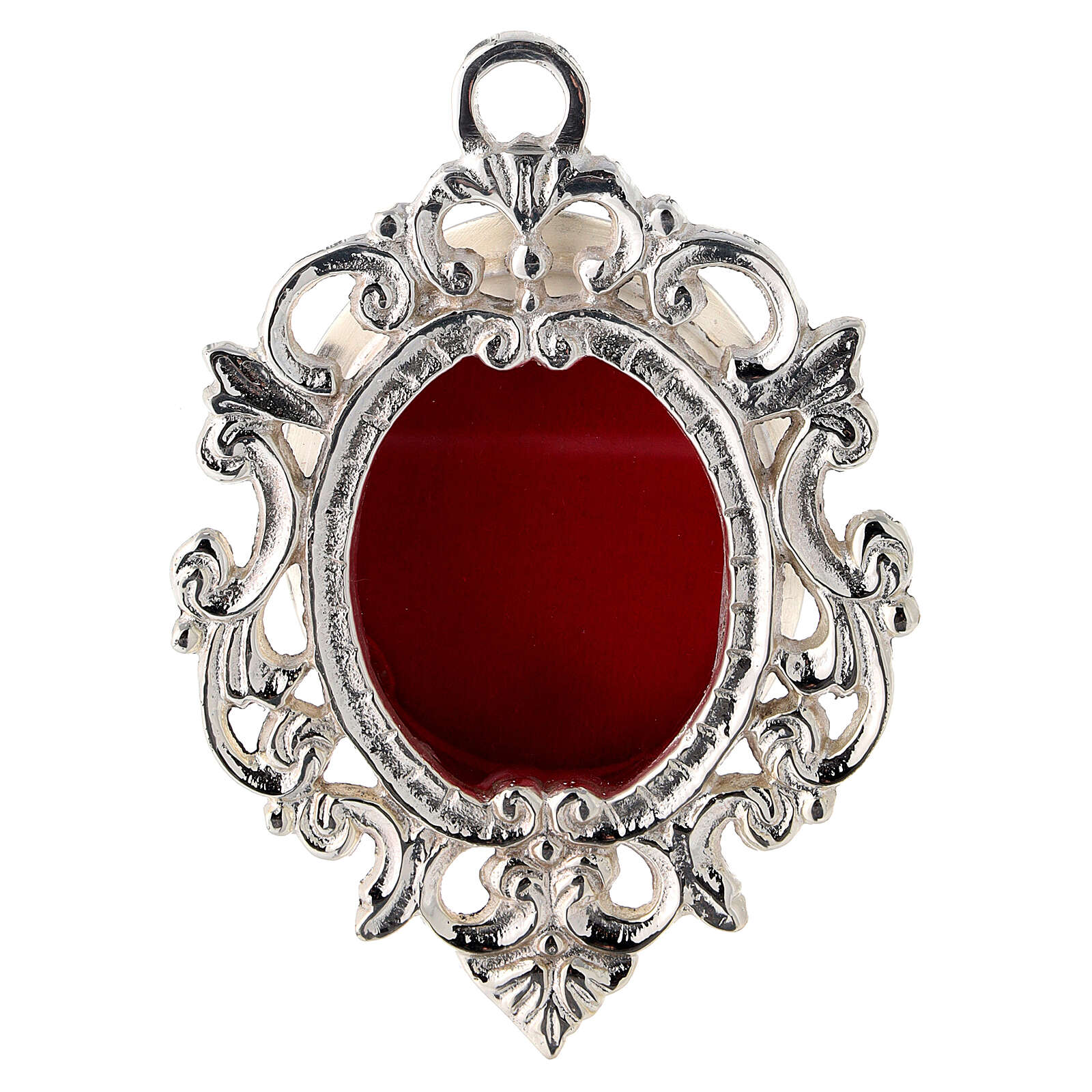 Wall-mounted baroque reliquary in silver-plated brass h 4 1/4 in 4