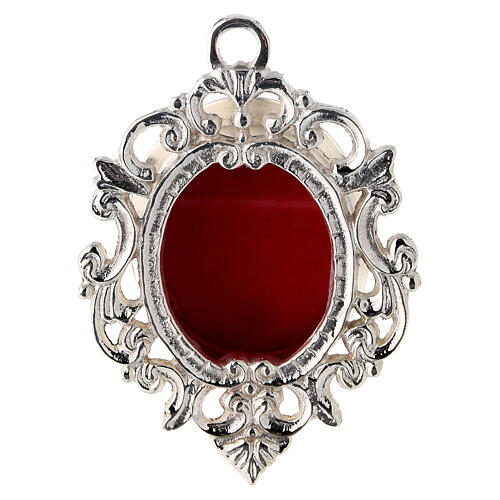 Wall-mounted baroque reliquary in silver-plated brass h 4 1/4 in 1