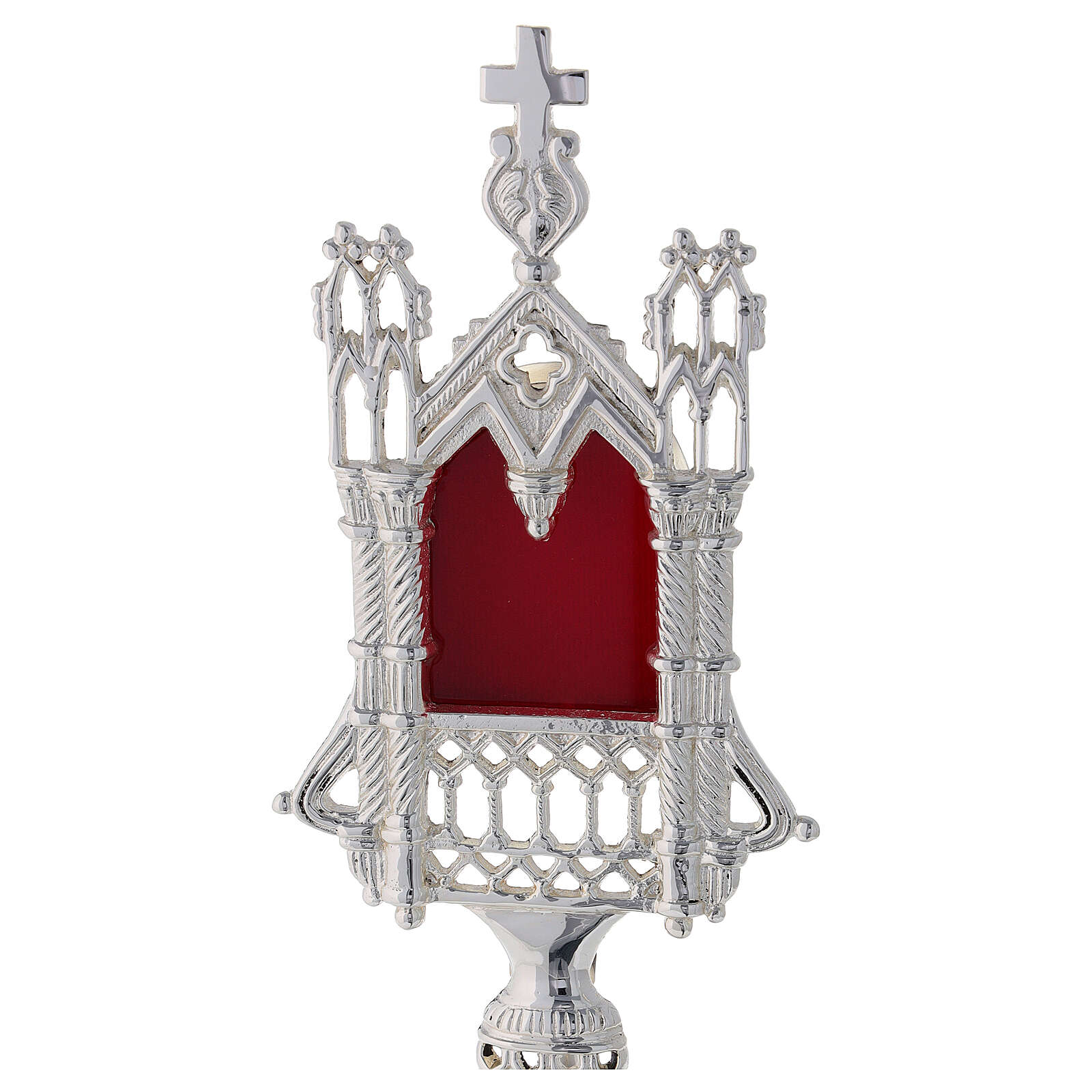 Reliquiario neogotico ottone argentato 28 cm 4
