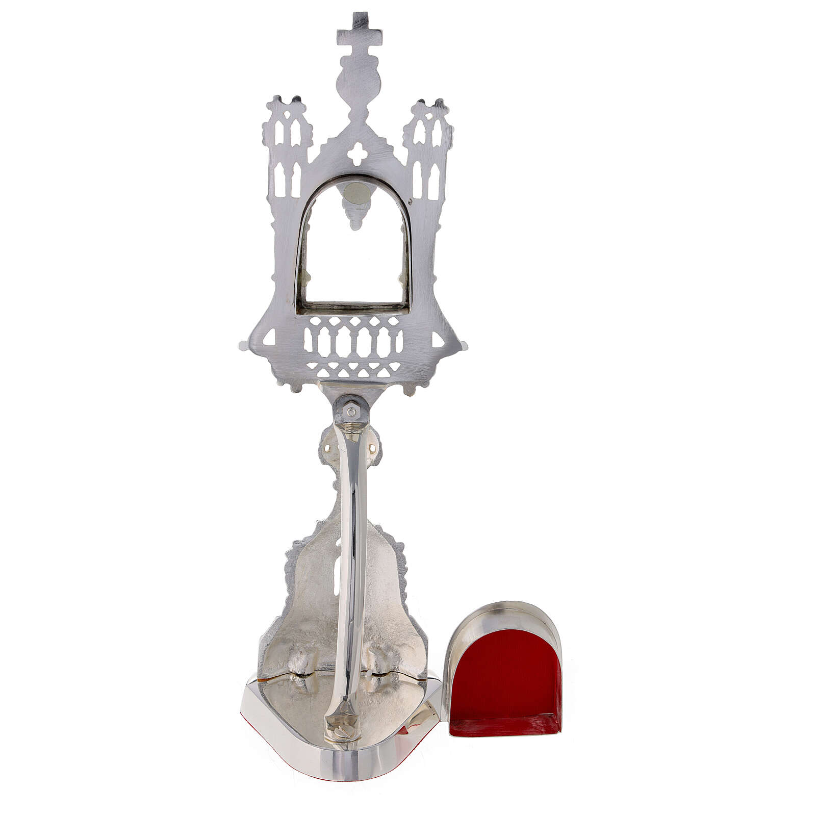 Neogothic reliquary in silver-plated brass 11 in 4