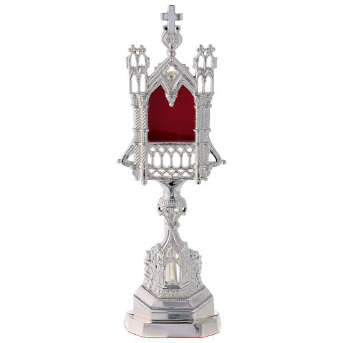 Neogothic reliquary in silver-plated brass 11 in 1