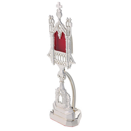 Neogothic reliquary in silver-plated brass 11 in 3