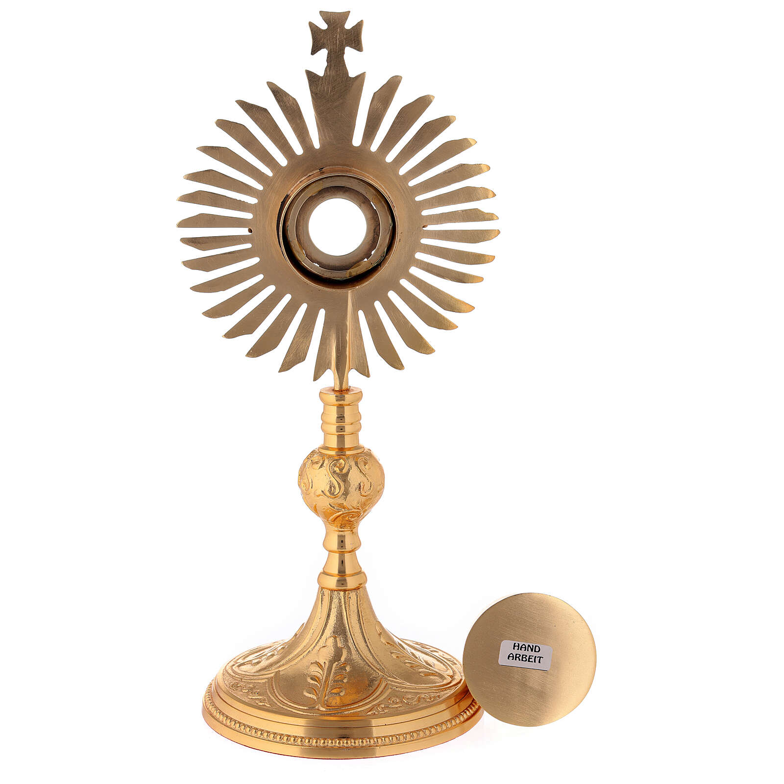 Gold plated brass reliquary with decorated node and rays frame h 11 in 4