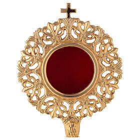 Relicario ostensorio cilíndrico barroco latón dorado h 28 cm s2