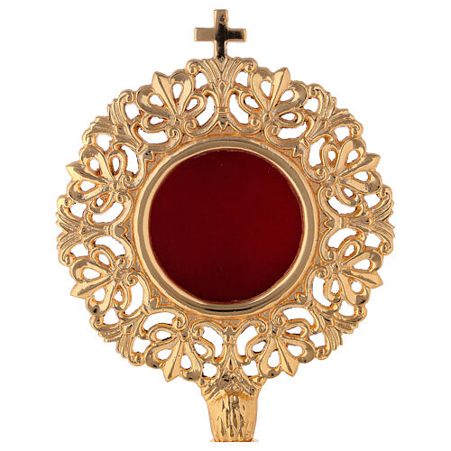 Relicario ostensorio cilíndrico barroco latón dorado h 28 cm 2