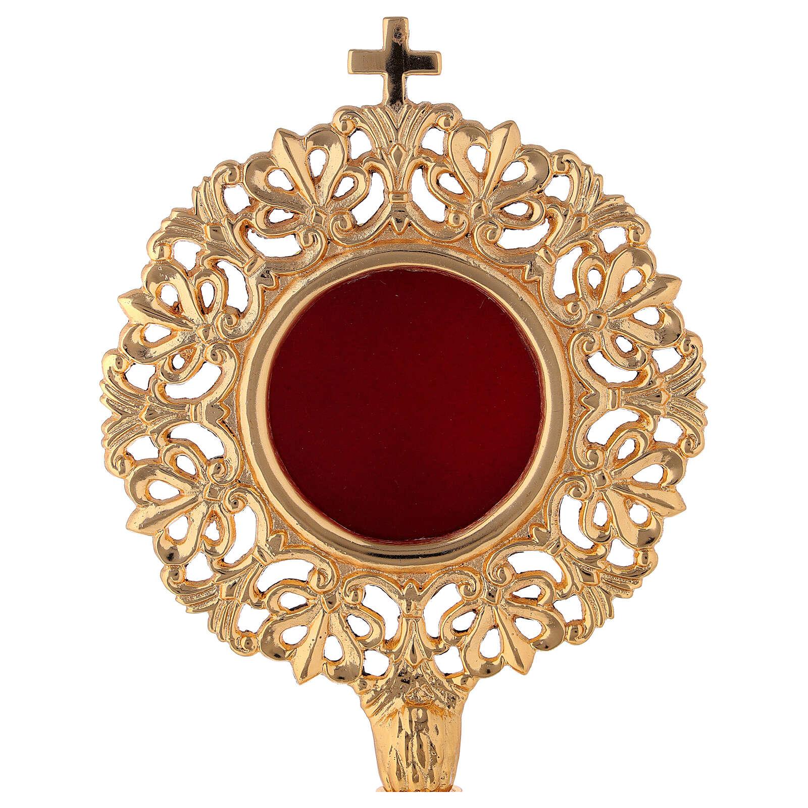 Relicário luneta cilíndrica barocco latão dourado h 28 cm 4